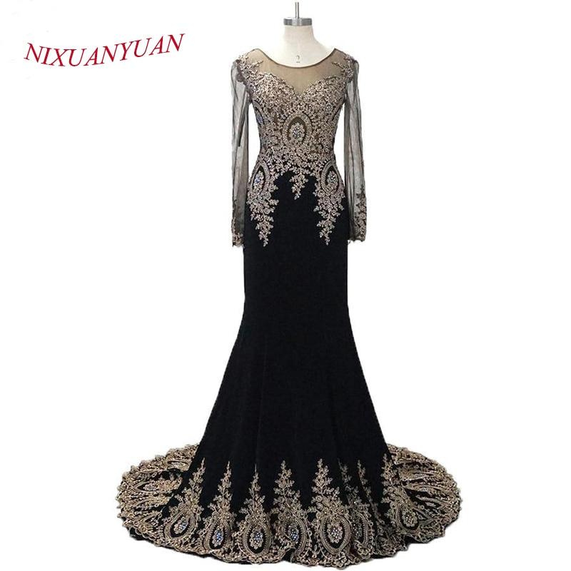 Новий мода мусульманських вечірнє плаття довгі рукави шифон аплікації жіночі формальні сукні суд поїзд шифон назад бачити