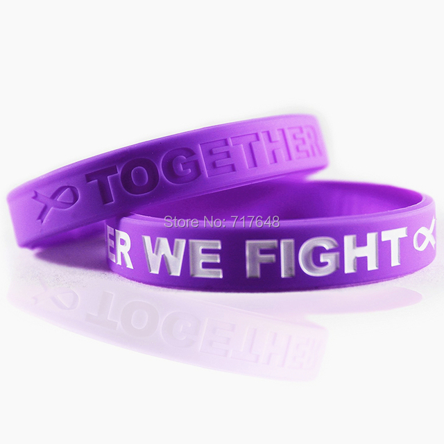 300pcs Awareness Pancreatic Cancer Purple Wristband Silicone Bracelets Free Shipping By Fedex