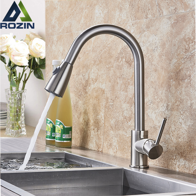Golden Pull Out Kitchen Faucet Deck Munted Dual Sprayer Function Water Taps Single Hole Hot and