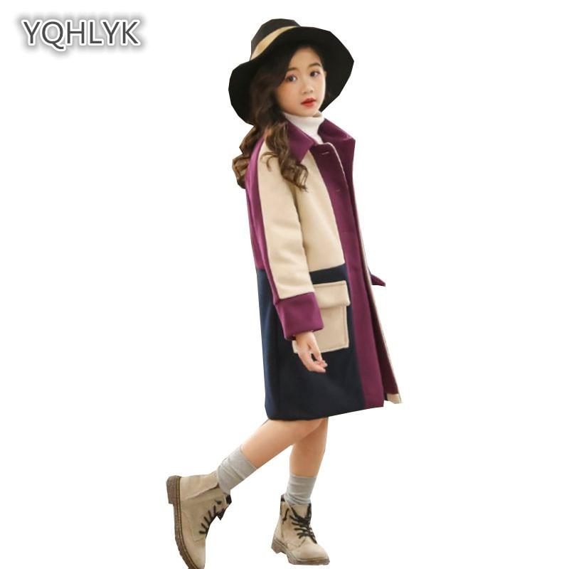 Children's autumn winter fashion girls woolen coat Korean thick lapels Patchwork girls coat long loose kids Outerwear LK219