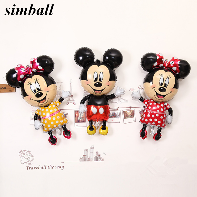 1pcs Mickey Minnie balloons Large Giant 112cm Big Red Bowknot standing mouse Airwalker Balloons Birthday Party Decorations Kids