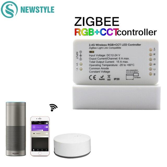 ZIGBEE Led בקר RGB + CCT WW/CW בקר LED DC12 24V LED רצועת בקר ZLL APP בקר RGBW RGB דימר