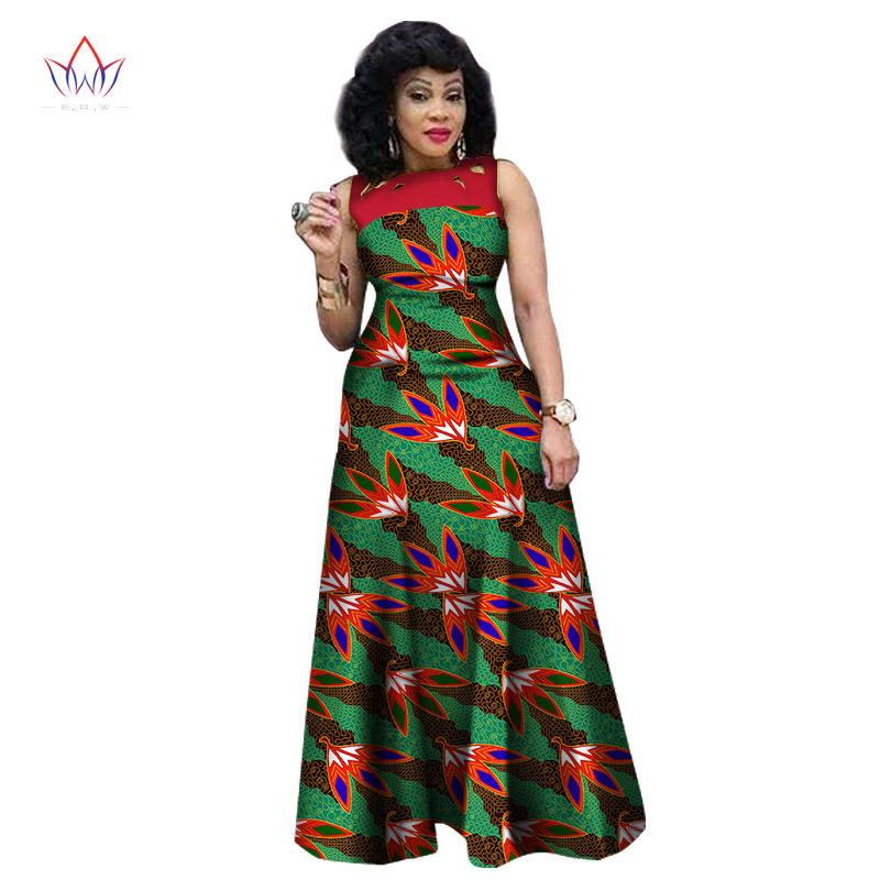 New Style Summer African Dresses for Women 2017 African Print Clothing Sleeveless Sexy Maxi Dress Plus Size BRW WY1341
