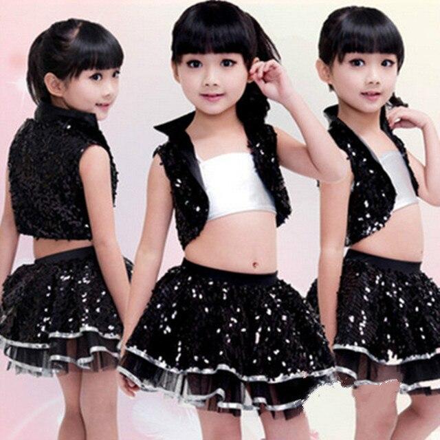 1298113a1ef5 Children Sequins Hip Hop Dance Costume Black Girls Jazz Modern Dance ...