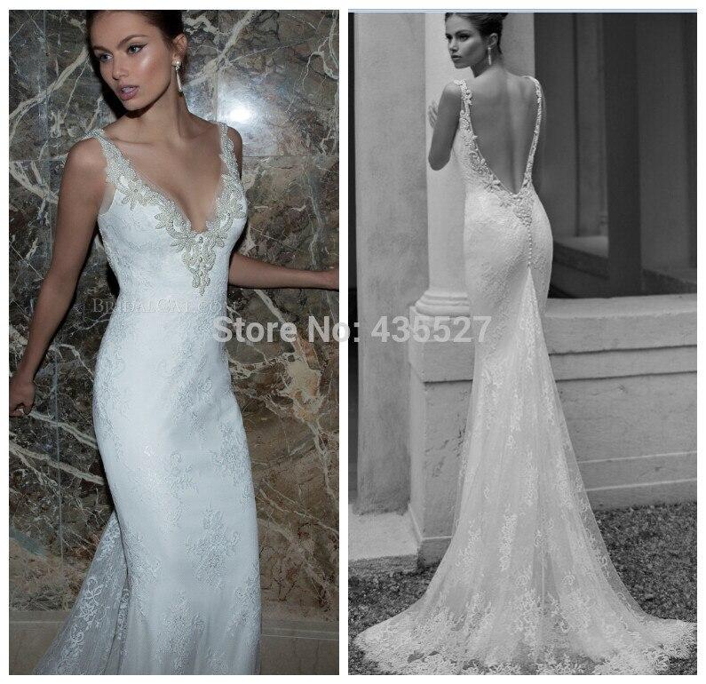 nitree dramático espalda abierta de encaje vestidos de novia sirena