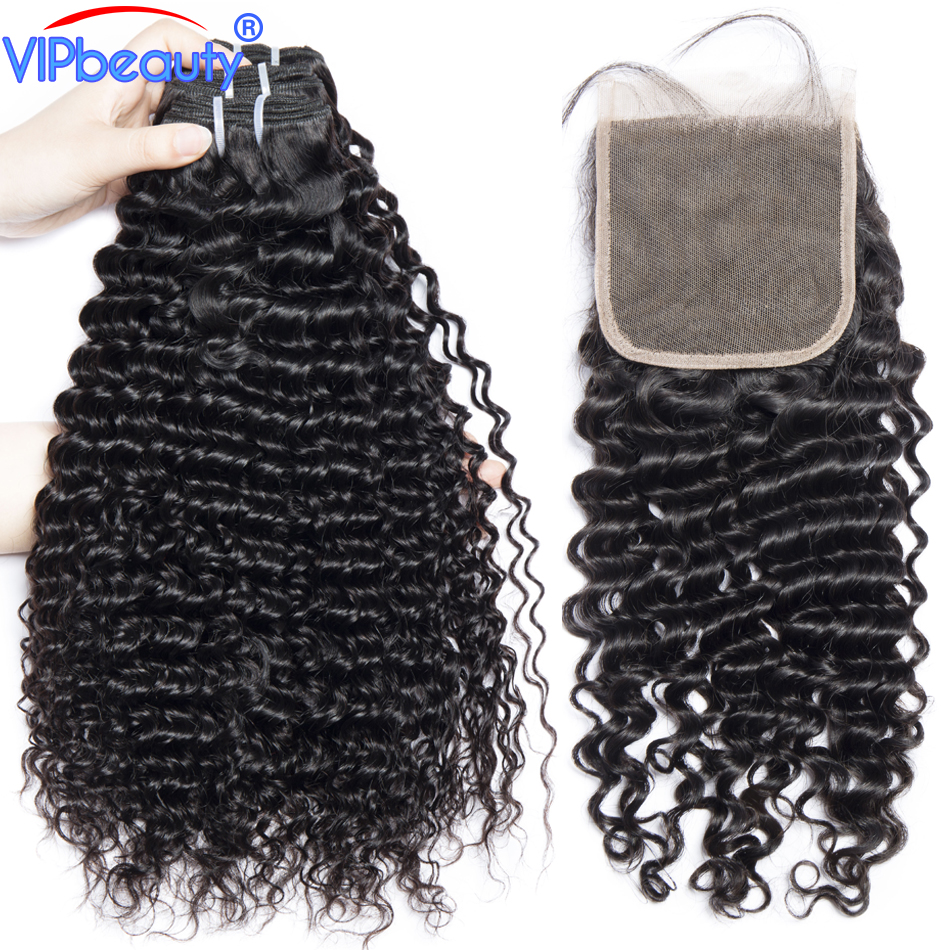 human hair 3 bundles with closure vip beauty Brazilian deep wave bundles with closure non remy hair extension 1b