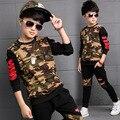 Conjuntos de Roupas crianças Para Meninos Camuflagem Ternos Esportivos Outono Crianças Fatos de Treino 2016 Meninos Adolescentes Sportswear 6 8 9 10 12 14 Anos