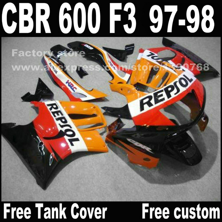 Motorcycle parts for HONDA CBR 600 F3 fairings 1997 1998 CBR600 F3 97 98 yellow black REPSOL fairing kit + 7 gifts