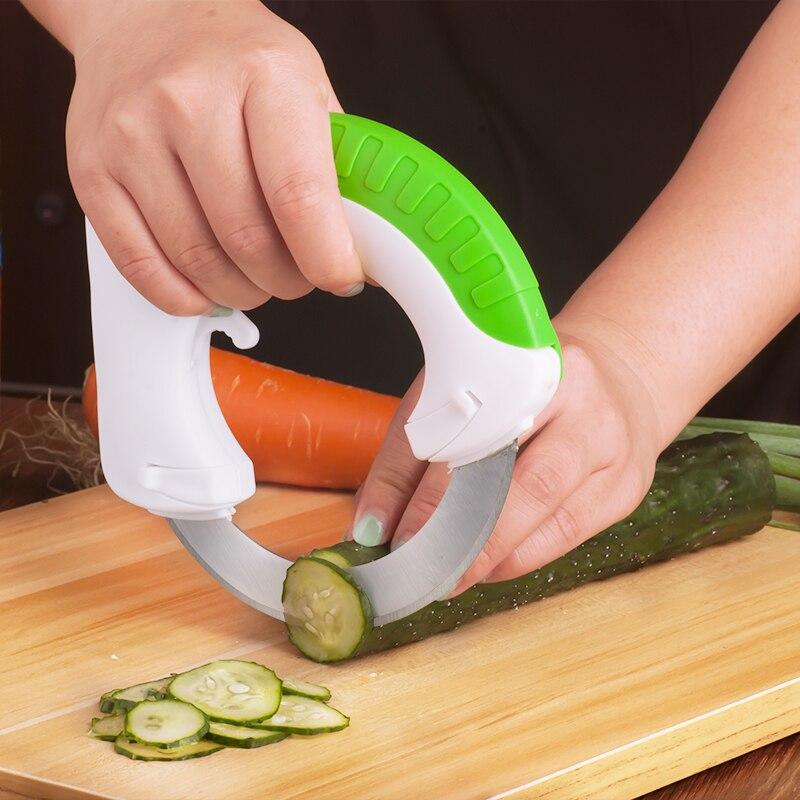 Nuovo Gadget Da Cucina In Acciaio Inox Tondo Ruota Verdura Chopper Affettatrice Coltello Circolare Rotolamento Facile Utensili Da Taglio