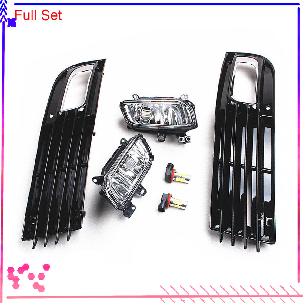 Black Front Left Right Bumper Lower Fog Light LED Lamp Grilles Cover For AUDI <font><b>A8</b></font> Quattro <font><b>D3</b></font> 2008-2010 4E0 807 681 4E0 807 682 image