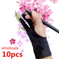 10pcs anti-fouling artist glove for drawing,Black 2 finger painting digital tablet writing glove for Art Students / arts lovers