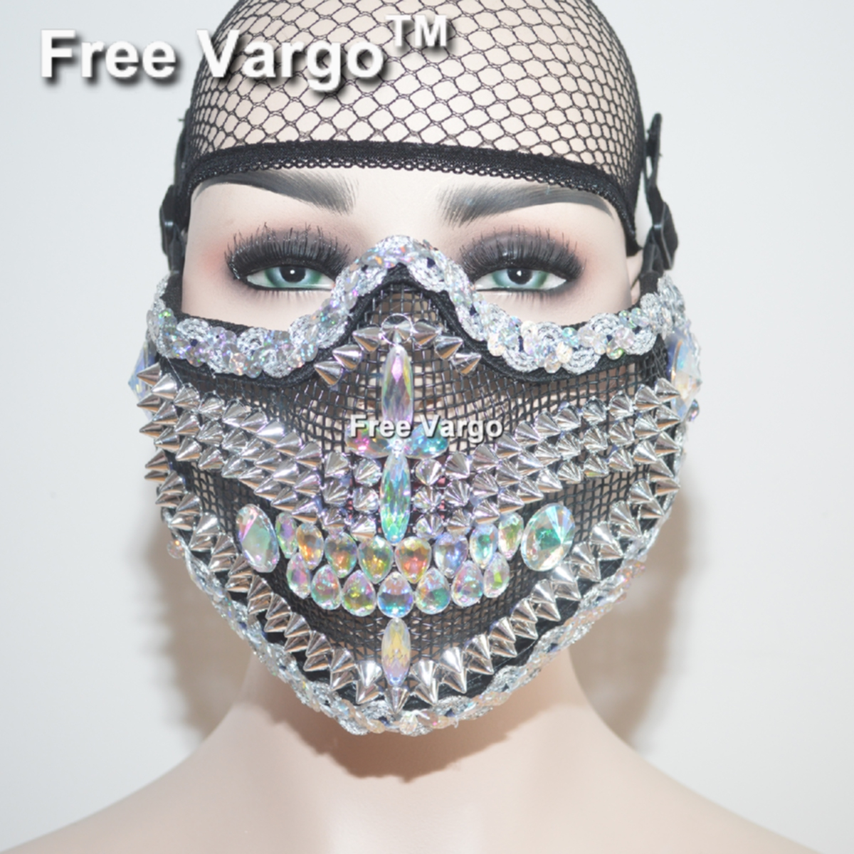 Holographic Rhinestone Burning Man Halloween Masquerade Face Mask Costume Summer Festival Rave Clothes Outfits Gear