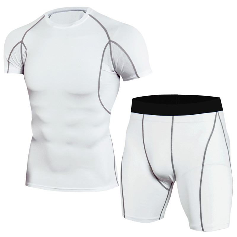 Newest Fitness Compression Sets T Shirt Men 3D Printed Sport Suit Male MMA Elasticity Quick Dry Short Sleeve T-shirt And Shorts