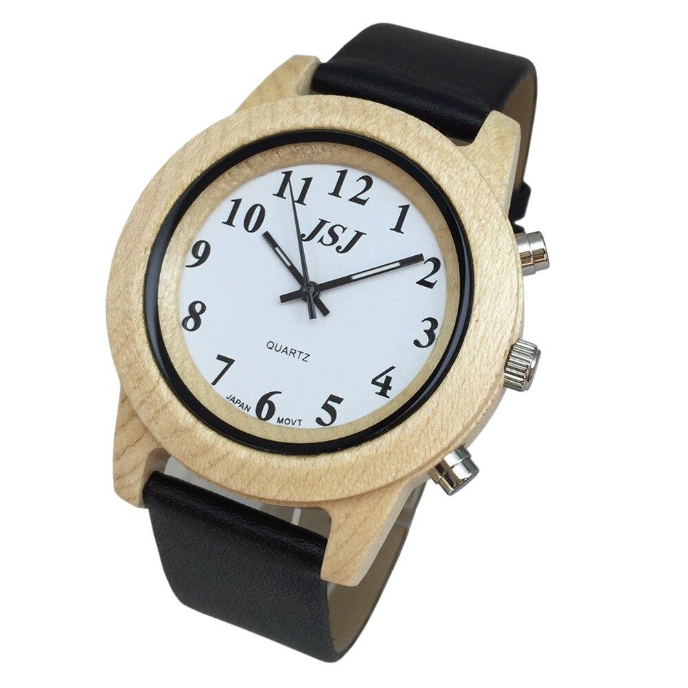 Montre en bois parlant anglais avec bracelet en cuir dalarme, Date et heure parlantesMontre en bois parlant anglais avec bracelet en cuir dalarme, Date et heure parlantes
