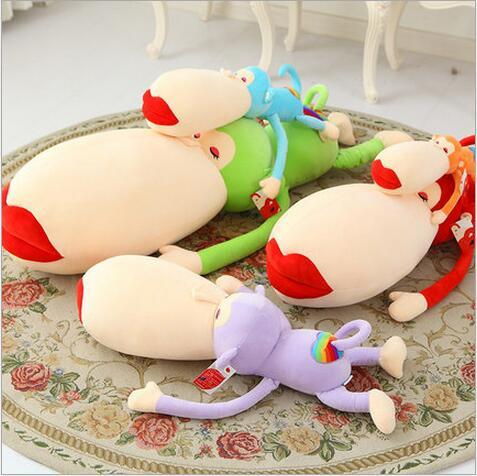 1pcs 55cm Lovely Big Mouth and Red Lip Monkey Plush Toy Rainbow Monkey Plush Pillow Creative Monkey Doll Christmas Gift
