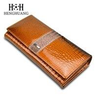 HH Women Clutch Wallets Ladies Vintage Hasp Crocodile Long Purse Cow Leather Wallet Luxury Alligator Purse
