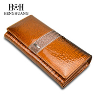 HH Women Clutch Wallets Ladies Vintage Hasp Crocodile Long Purse Cow Leather Wallet Luxury Alligator Purse
