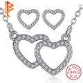 BELAWANG Cubic Zirconia Jewelry Set Rhinestone Love Heart Fashion Necklace Earrings Sets Women 925 Sterling Silver Jewelry Sets