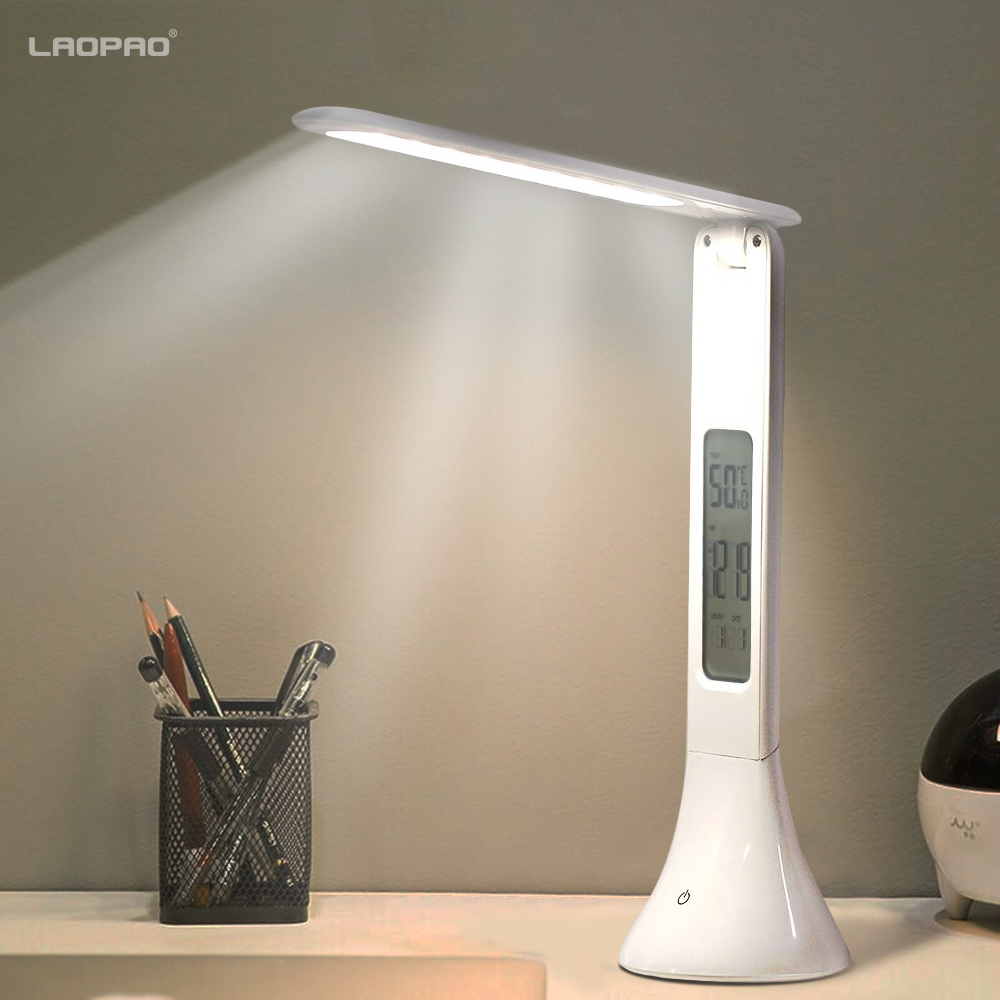 Schlussverkauf Artpad Modern Leather Office Led Lampe Mit Lcd Display Wecker / Kalender Für Business Geschenk Lampe Dimmen Touch