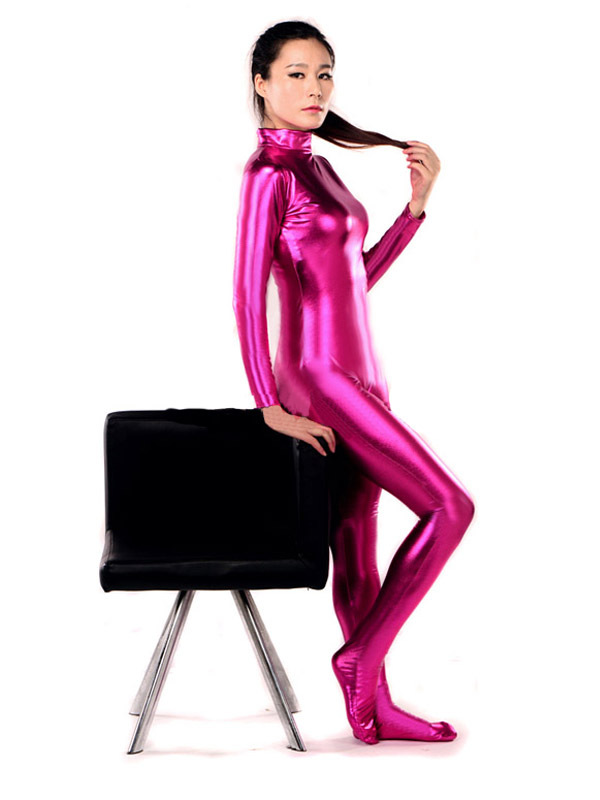BetterParty Sexy Unisex Rose Pink Zentai Catsuit Shiny Metallic Lycra