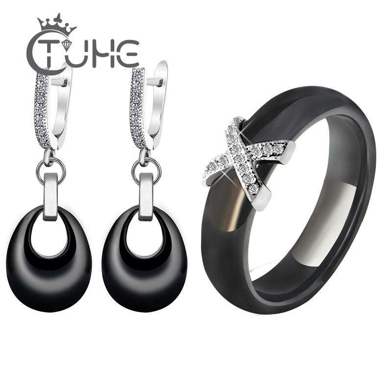 <font><b>2019</b></font> Costume <font><b>Jewelry</b></font> <font><b>Sets</b></font> Black White Pink Water Drop Pendant <font><b>Jewelry</b></font> Earrings X Cross Rings <font><b>for</b></font> Women Crystal Wedding <font><b>Jewelry</b></font> image
