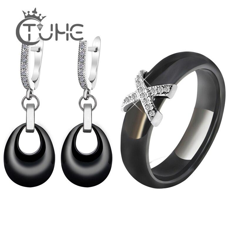 2019 Costume Jewelry Sets Black White Pink Water Drop Pendant Jewelry Earrings X Cross Rings For Women Crystal Wedding Jewelry