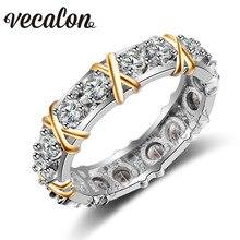 Vecalon 3 colores Joya de diamantes Simulados Cz Wedding Band anillo de Compromiso para Las Mujeres Blanco de 10KT Oro Amarillo Llenó el anillo de Mujer