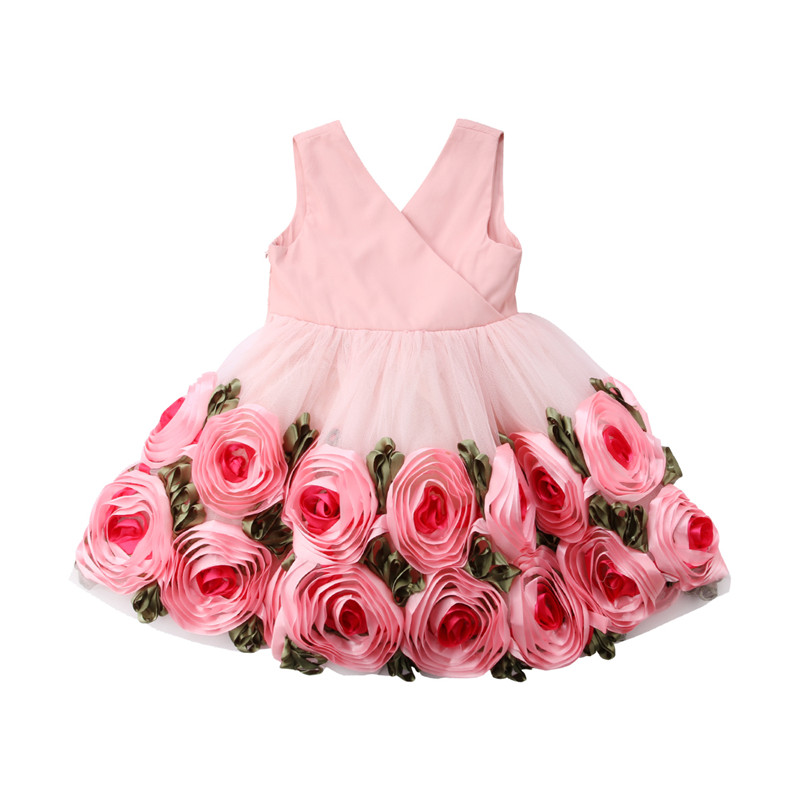 fbb2585c0 V-Neck Lace 3D Rose Flower Bow Ball Gown Tulle Fancy Dress Baby Girl  Princess