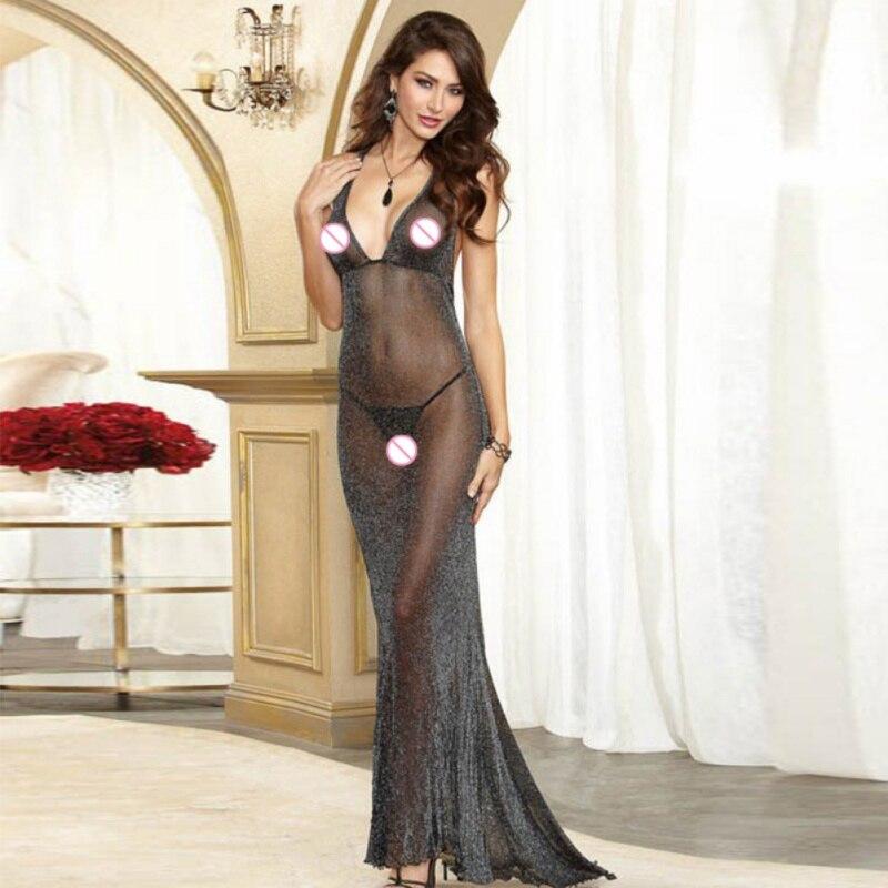 Sexy Women Body Repair Transparent Lingerie Exotic Dress Mesh Sparkled Black Low Cut Braces Floor Length Dress Club Party Dress