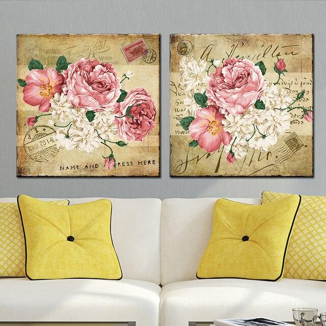 Современные цветок абстрактной живописи 2 шт. украшения дома Модульная картина для Гостиная стены бескаркасных
