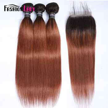 Fashion Lady Ombre Brazilian Hair 3 Bundles With Lace Closure 1B/30 Straight Weave Human Hair Bundles With Closure Non-Remy - DISCOUNT ITEM  46% OFF All Category