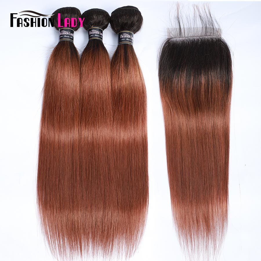 Fashion Lady Ombre Brazilian Hair 3 <font><b>Bundles</b></font> <font><b>With</b></font> Lace <font><b>Closure</b></font> <font><b>1B</b></font>/<font><b>30</b></font> Straight Weave Human Hair <font><b>Bundles</b></font> <font><b>With</b></font> <font><b>Closure</b></font> Non-Remy image