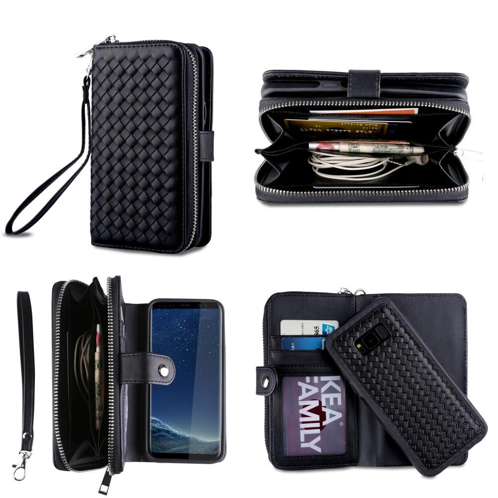 Роскошный Weave Pattern Съемный кожаный бумажник чехол для Samsung Galaxy S7 S7 Edge S8 S8 плюс телефон сумка на молнии сзади крышка Сумки