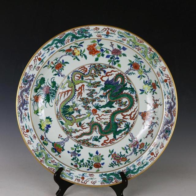 Dragon phoenix Pattern Big plate porcelain vintage home decor crafts ...