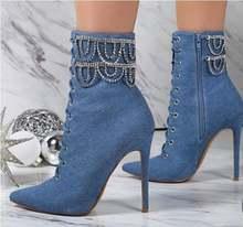 Женские ботильоны из синей джинсовой ткани; обувь с острым носком
