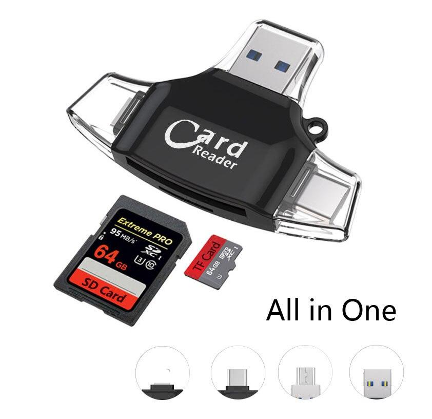 Type c/Micro USB/USB TF SD Lecteur de Carte Pour iPad pour iPhone x 7 8 plus 5 6 6 s, lecteur de Carte mémoire Pour Samsung S8 + S6 S7 Android