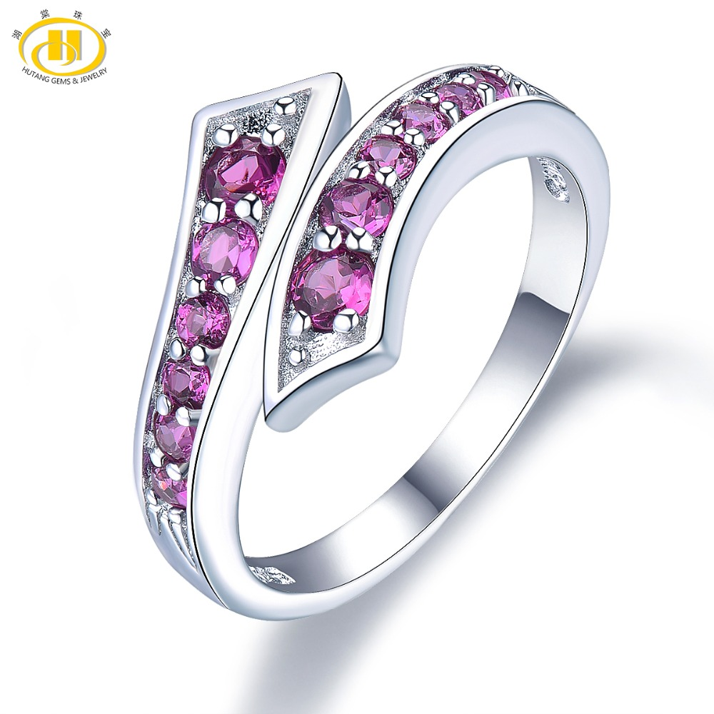 Hutang Engagement Ring Natural Stone Rhodolite Garnet Solid 925 Sterling Silver By Pass Gemstone for Women Fine Eelegant Jewelry