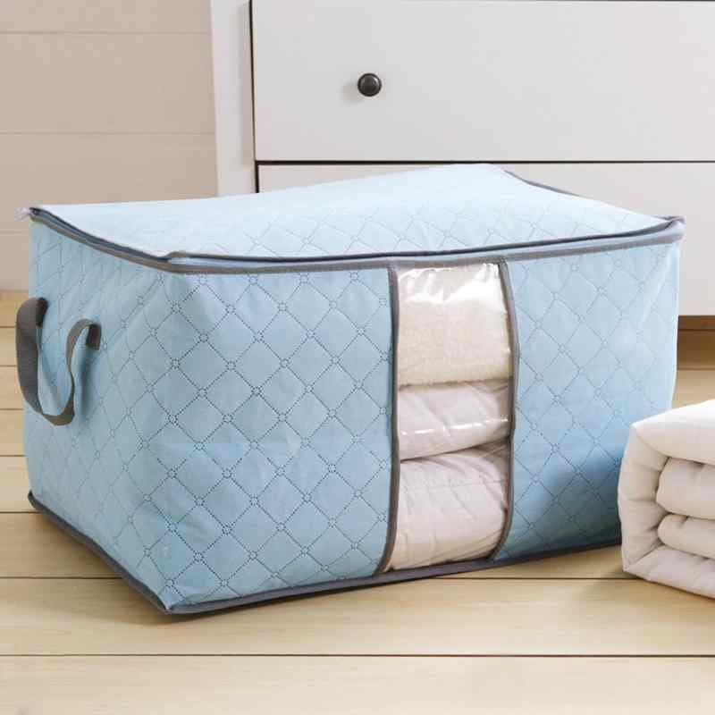 Large Storage Bag Box for Clothes Garments Quilt Duvet Laundry Pillows Portable Durable Cloth Container Organizer Bamboo