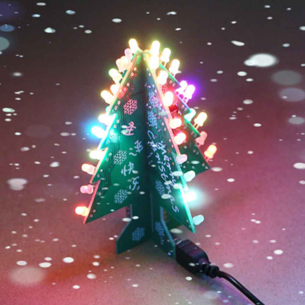 Colorful Christmas Tree Led 3d Diy Flash Circuit Parts Electronic Wire Lights In Addition Wiring Learning Kit Fun Suite Decor Xmas Gift With Christamas Music Integrated Circuits From