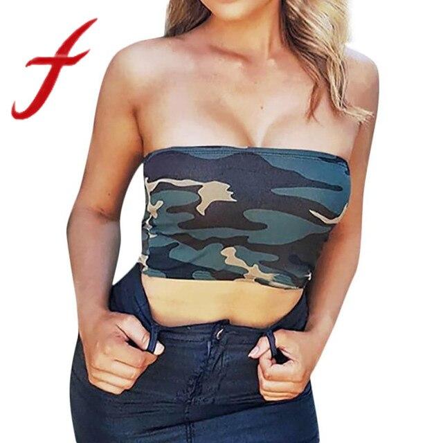 6e43434768 Feitong Women Strapless Tank Tops Summer Camouflage Boob Bandeau Tube Tops  Bra Lingerie Breast Wrap Camis Vest regata feminina