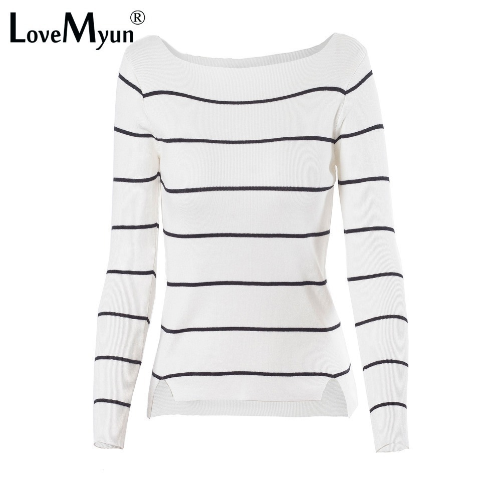 2018 Høst Vinter Casual Black Hvit Striped Long Sleeve Knit Women Slim Sweater Pullovers Jumpers