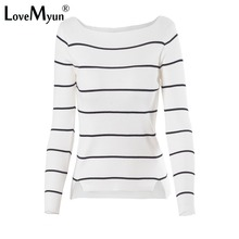 2019 Autumn Winter Casual Black White Striped Long Sleeve Knit Women Slim Sweater Pullovers Jumpers