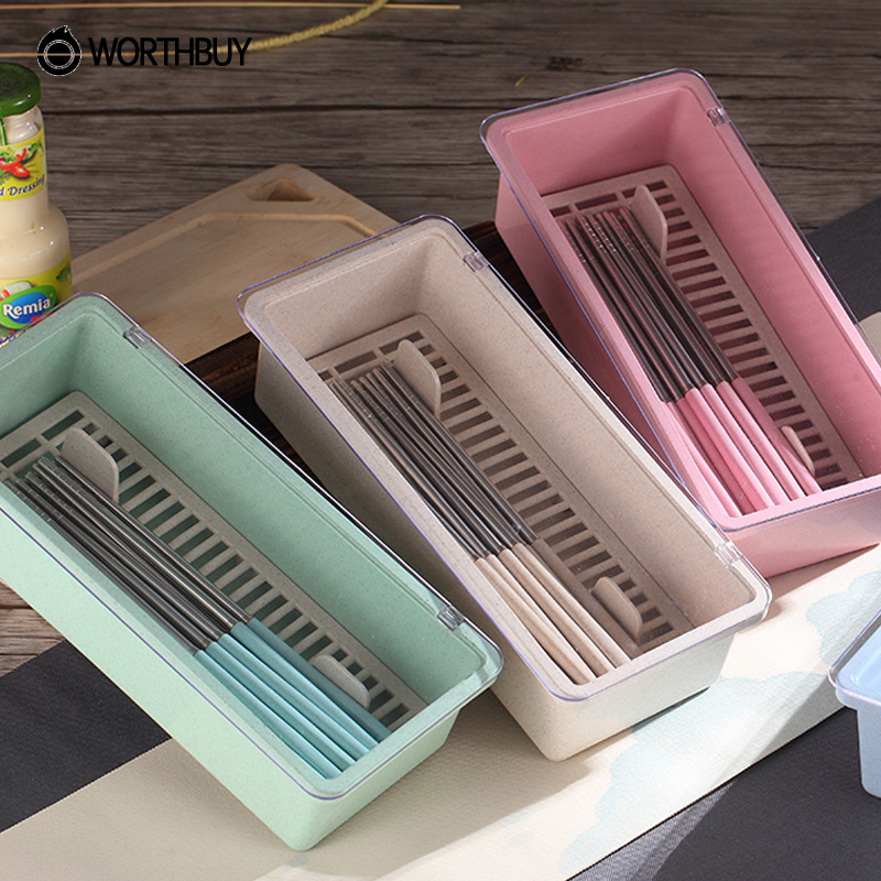 WORTHBUY 1 Pcs Plastic Wheat Straw Chopsticks Cage Eco Friendly Spoons  Cutlery Storage Holder Rack Kitchen Accessories Supplies