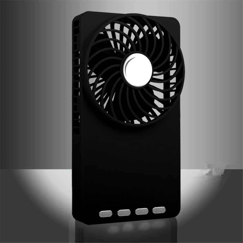 Speeds USB Mini Fan 18650 Rechargeable Emergency Power Bank Ultra-thin Summer Fan Mini Mirror Handheld Pocket Portable Fan
