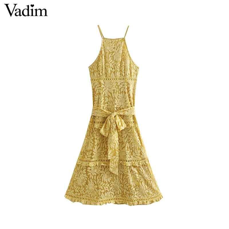 Vadim женское Стильное желтое платье миди без рукавов с поясом с открытой спиной Дизайн Спагетти ремни кружева линии платья для вечеринок QC305