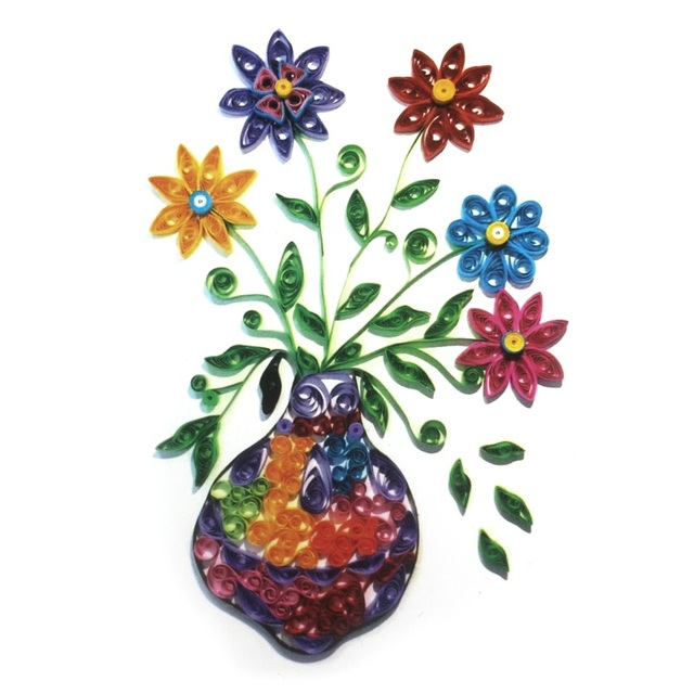 3D Flower Vase Model Paper Folded Quilling Painting Art DIY Handmade Nice Decoration For Home Room