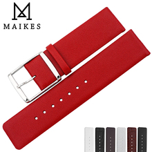 MAIKES Luxury Red Genuine Leather Watch Strap Soft High-Priced CK Accessories Bands For Calvin Klein Band