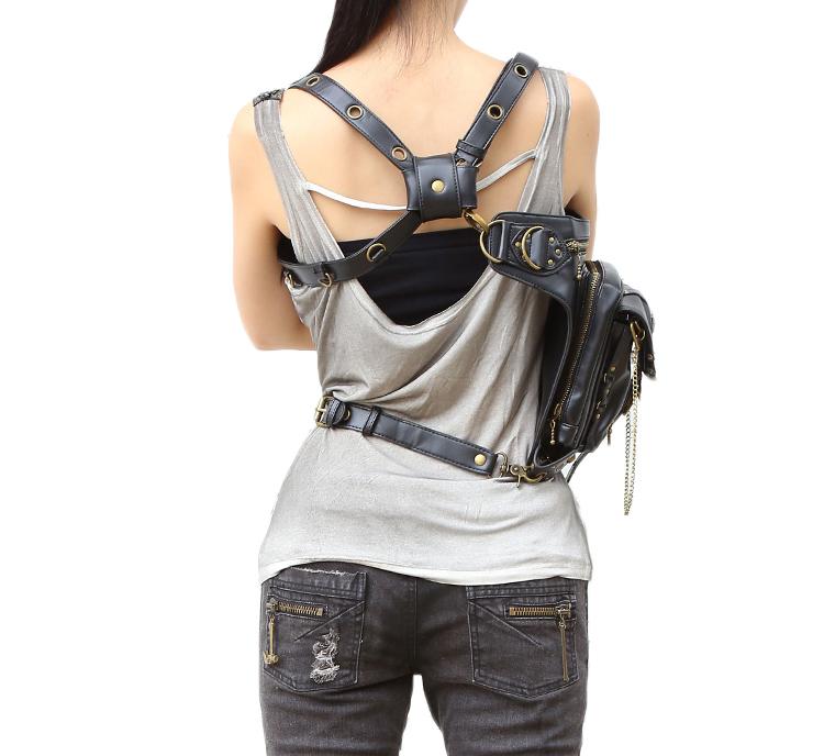 Steampunk Gothic Retro Metal Star Leather Waist Bag