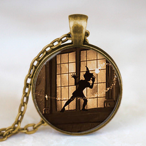Steampunk US Movie Never Grow Up Peter Pan Quote Pendant Necklace brass 1pcs/lot mens handmade jewelry dr who chain 2017 cosplay