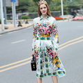2017 Spring Runway Set Women's High Quality Fashion Long Sleeve Flower Print Blouse and Skirt Suit Set 2 Piece Clothing Set